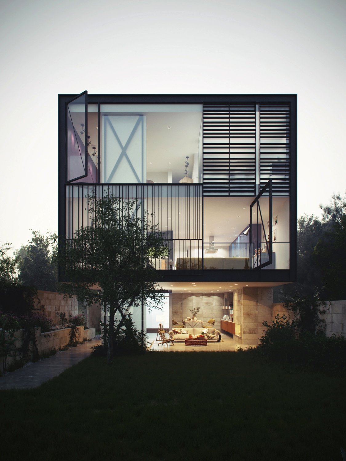 ^ rchitectural oncept of a Glass Box Home