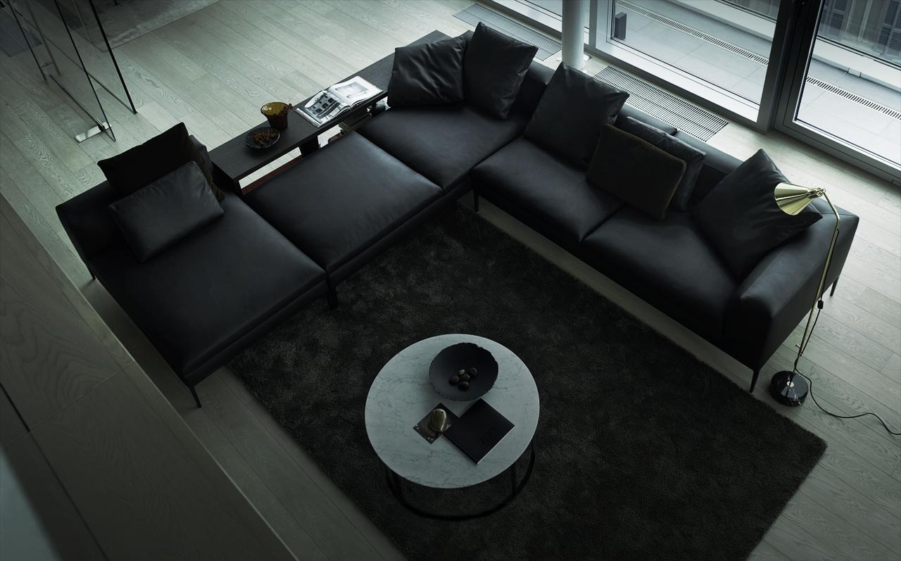 Black Leather Sectional Sofa Interior Design Ideas  ~ Modern Black Sectional Sofa