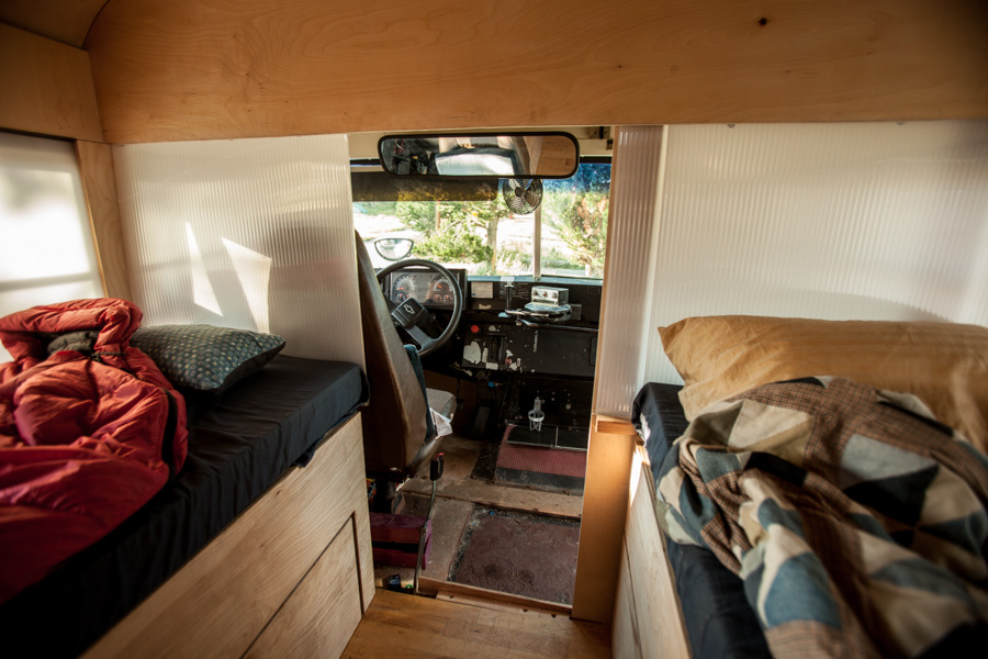 school bus converted into small home by architecture student. Black Bedroom Furniture Sets. Home Design Ideas