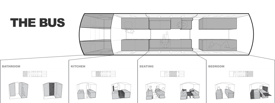 Bus Home Layout - School bus converted into small home by architecture student