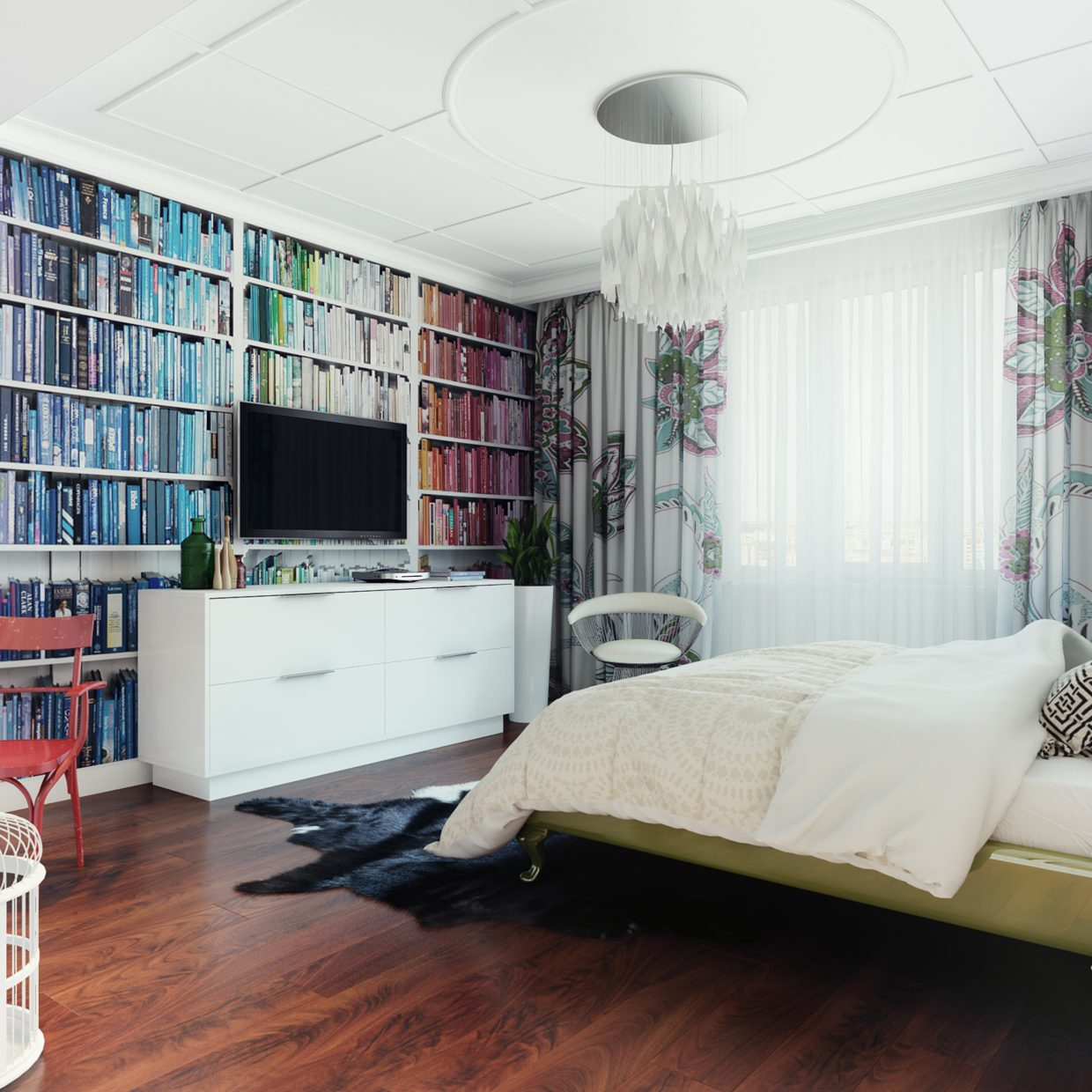 modern pop art style apartment - Bedroom Room Colors