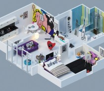 colorful pop art apartment