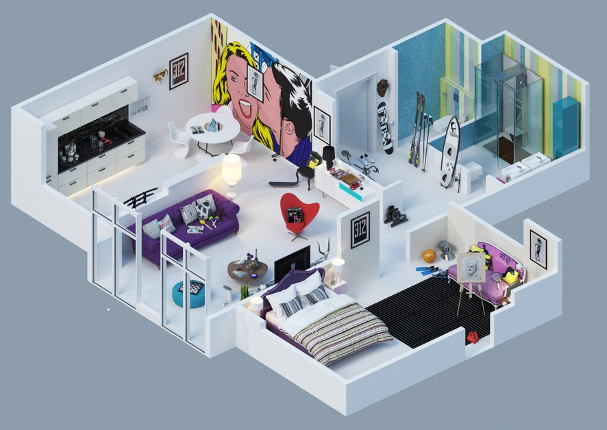 Home Design 3d Kat Cr Colorful Pop Art Apartment Interior Design Ideas