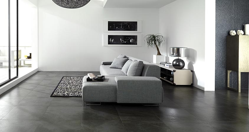 Porcelanosa contemporary home products Black tile flooring modern living room