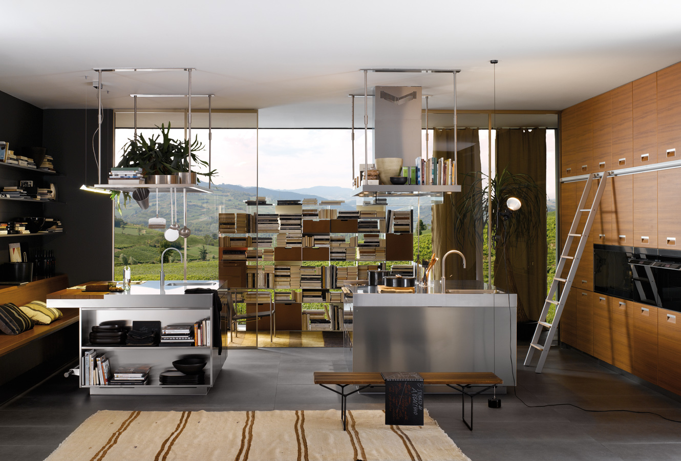 Double Kitchen Island Wall Cupboards - Modern italian kitchen design from arclinea