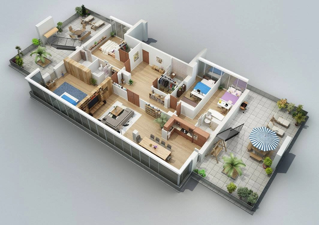 Apartment designs shown with rendered 3d floor plans for 4 bedroom house designs 3d