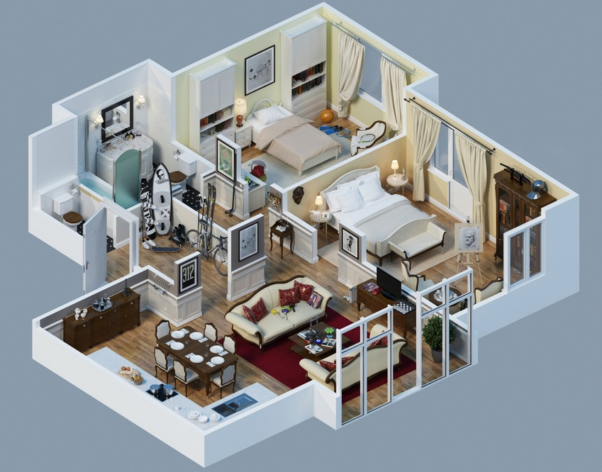 Apartment designs shown with rendered 3d floor plans for Appartement design 80m2