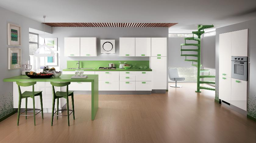 Green Accent Color Kitchen Interior Design Ideas