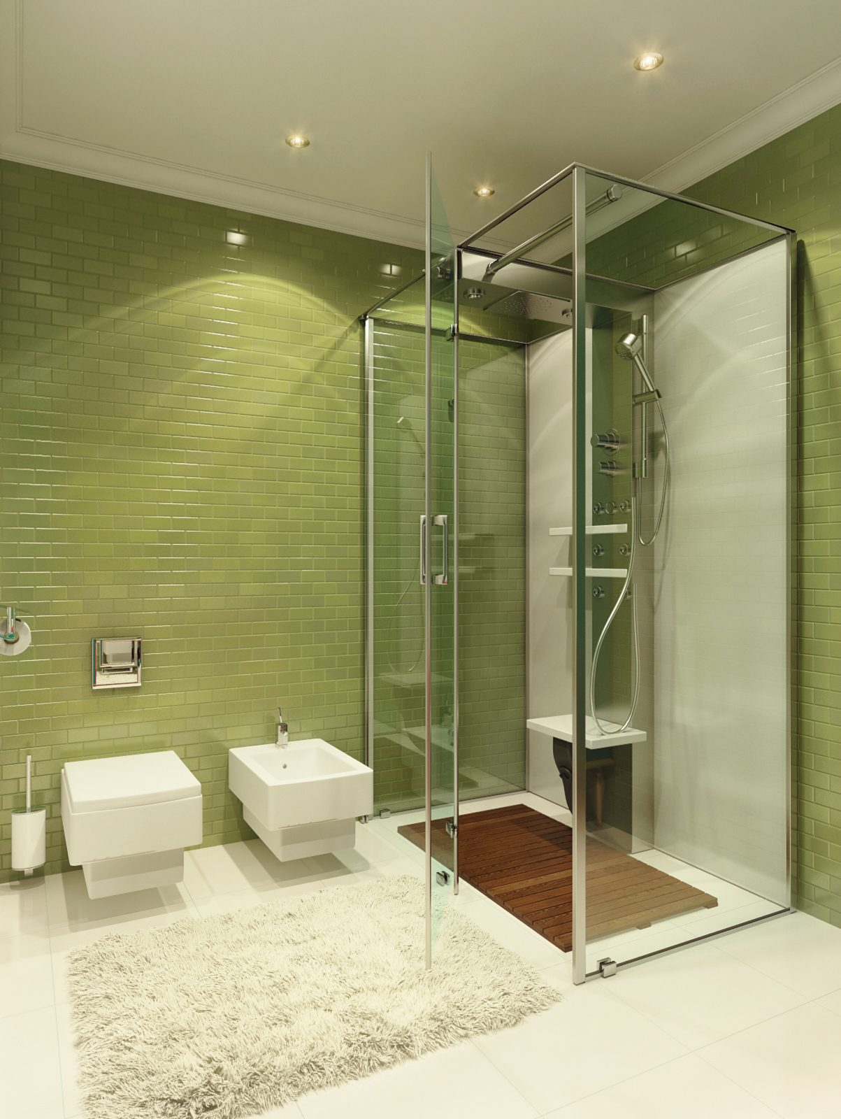 green tile bathroom | Interior Design Ideas.