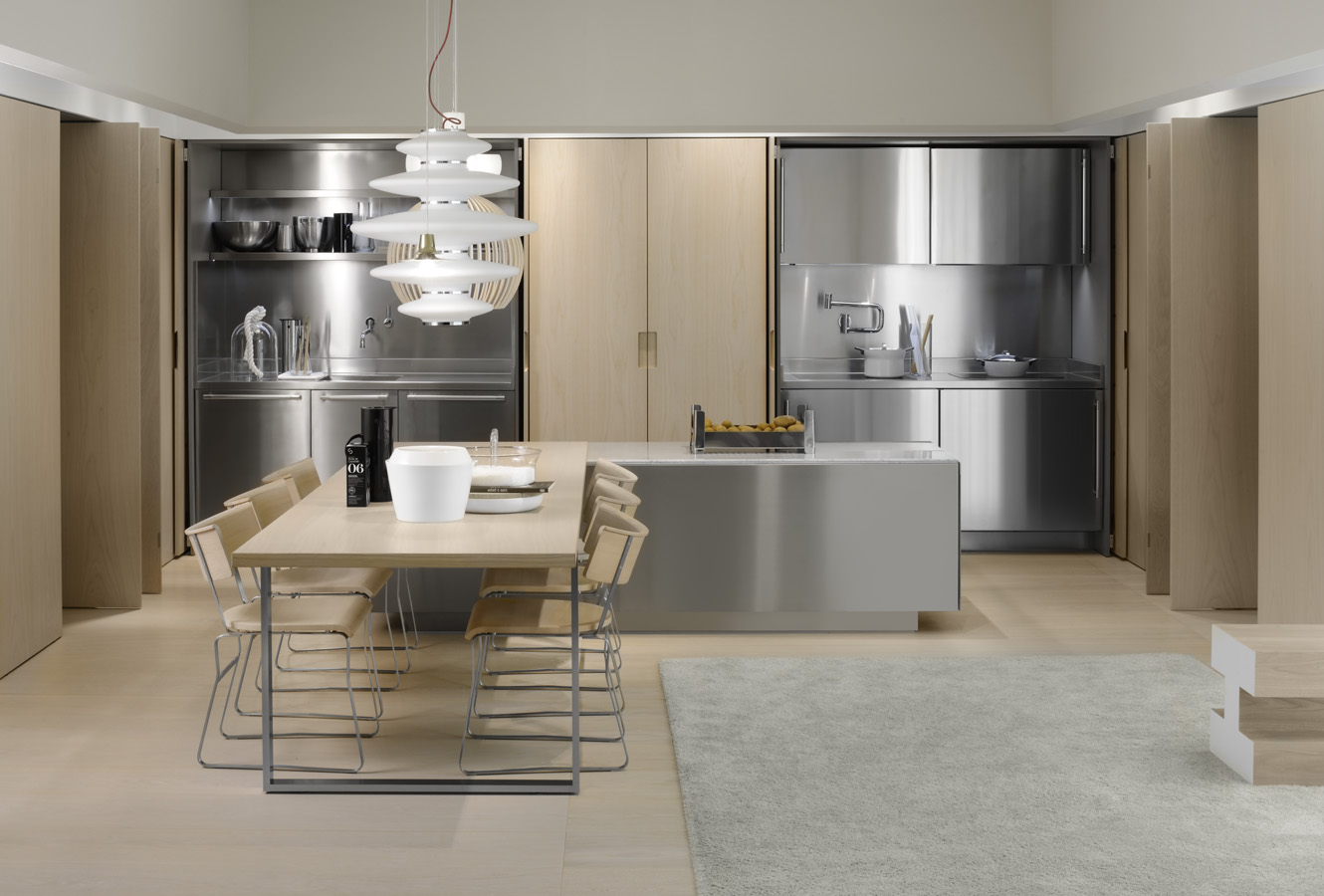 Modern italian kitchen design from arclinea for Stainless steel kitchen designs