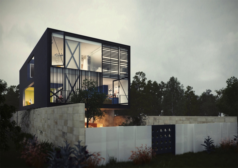 Architectural concept of a glass box home for Interior design in a box