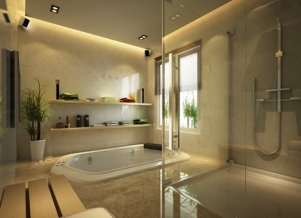 This bathroom looks like a spa retreat with the in ground tub, just below the windows to provide privacy.