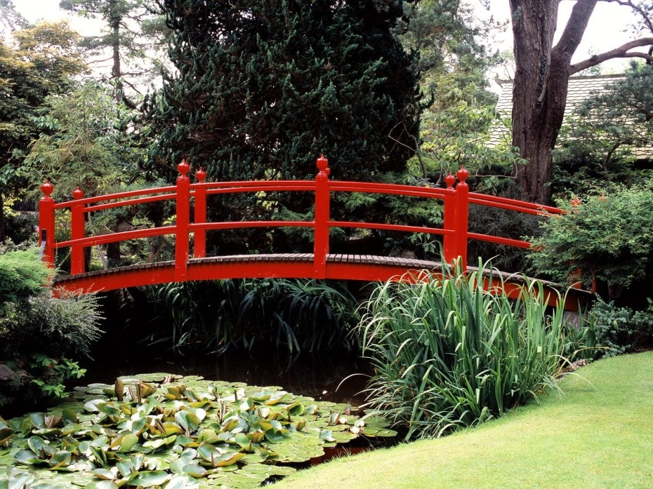 Beauti Garden Pond With Bridge Japanese Zen Gardens