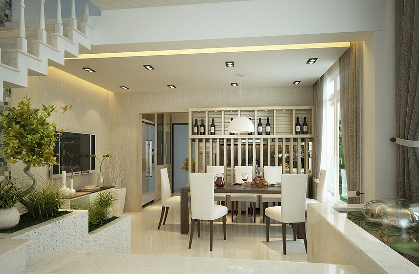 Interior designs filled with texture - Dining room living room separation ...