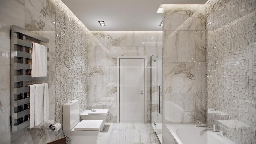 The bathroom continues the concept of grand space with a full shower ...