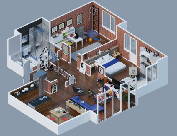 large apartment layout brick interior