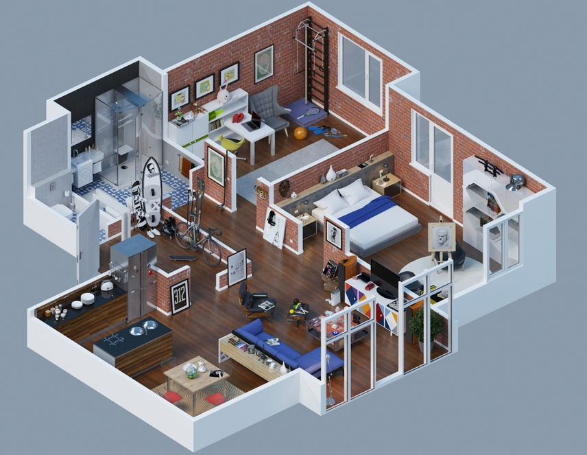 Apartment designs shown with rendered 3d floor plans for Small apartment layout ideas