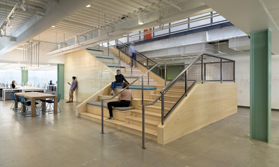 Large Office Stairwell With Benches - Evernote office interiors