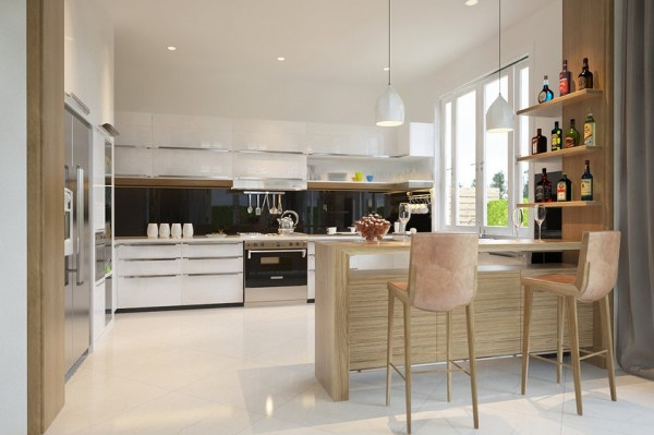 This open kitchen is bright and white, but the medium toned wood finishes tie together not just the kitchen but the adjacent dining space which has a large wooden table in the same finish.