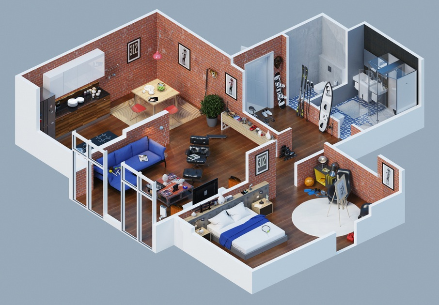 Apartment designs shown with rendered 3d floor plans for House interior design layout