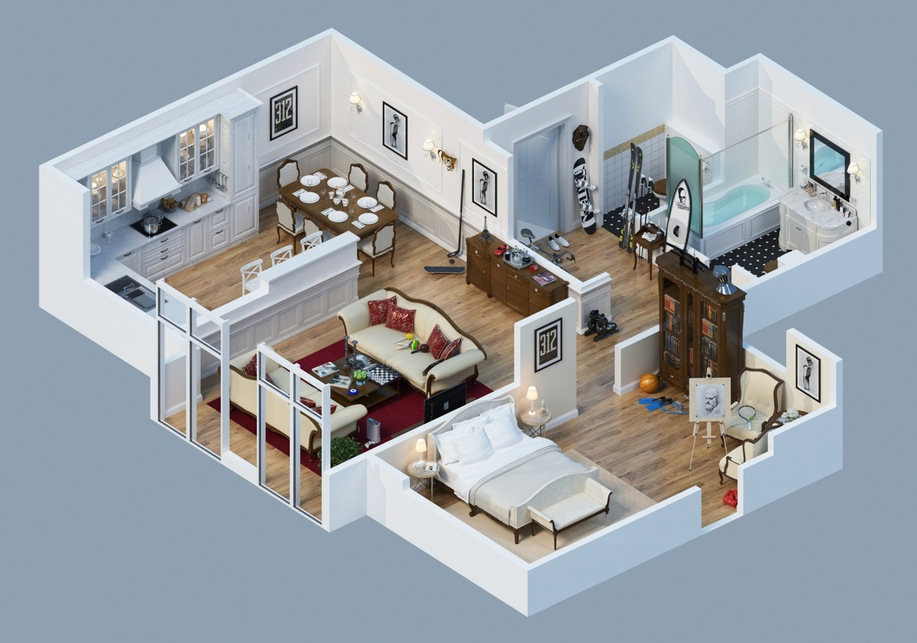 Apartment designs shown with rendered 3d floor plans for Apartment number design