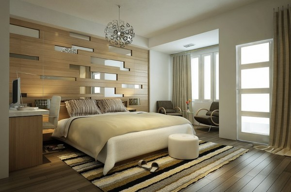This linear designed bedroom is very easy on the eyes. The accent wall behind the bed is created by long wooden planks with sporadic mirrors. The same linear pattern is found in the hardwood floors and striped area rug.
