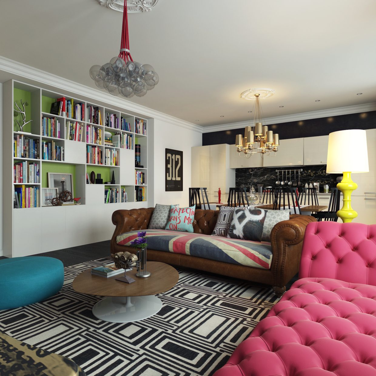 Modern pop art style apartment for Colorful living room furniture