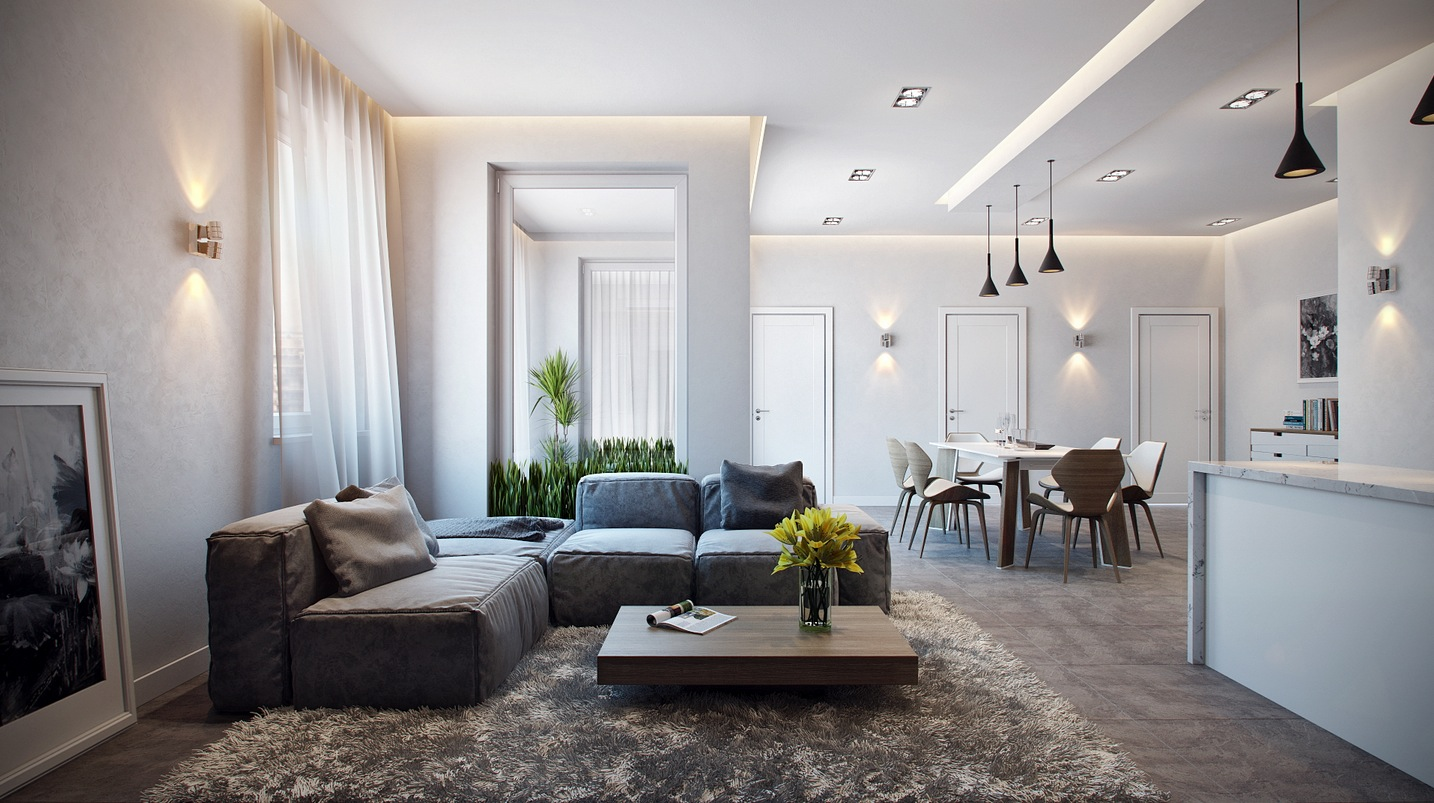 Stylish apartment in germany visualized for Photos of modern living rooms