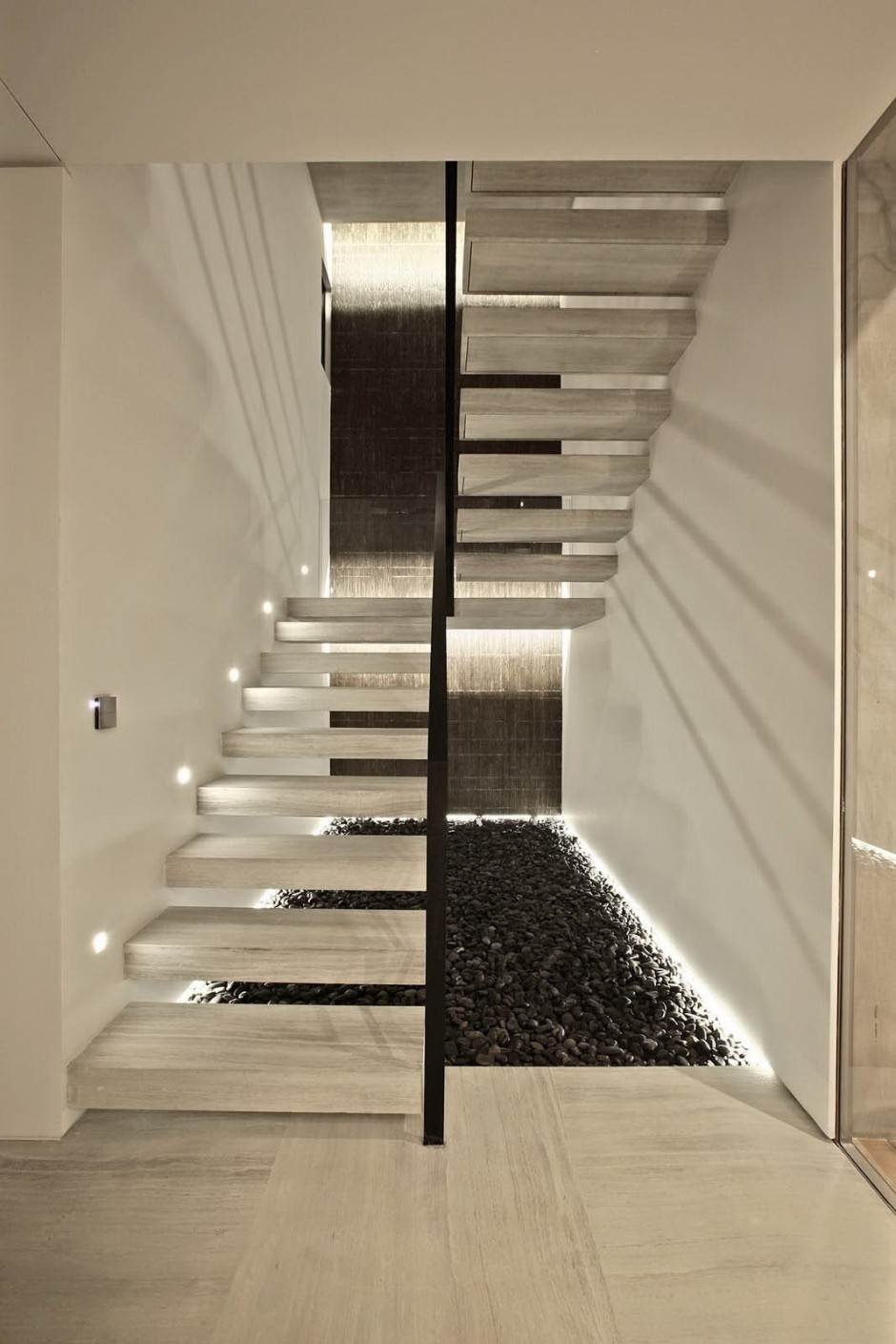 Natural Stone Staircase - Bold cosmopolitan house in istanbul