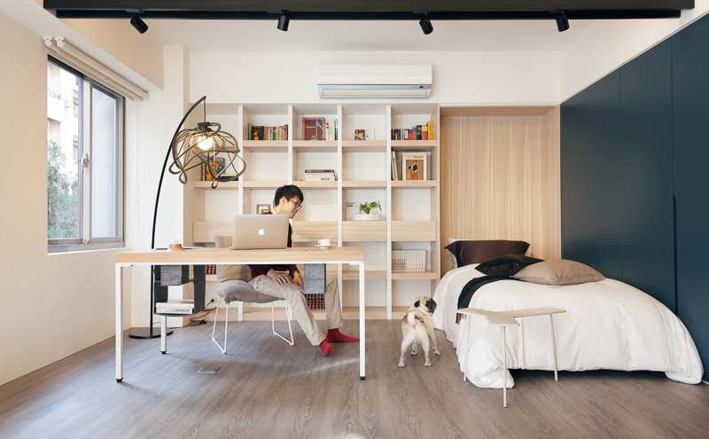 Admirable Bedroom With Office Small Home With Smart Use Of Space Taiwan Largest Home Design Picture Inspirations Pitcheantrous