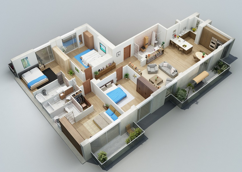 One Floor Apartments apartment designs shown with rendered 3d floor plans