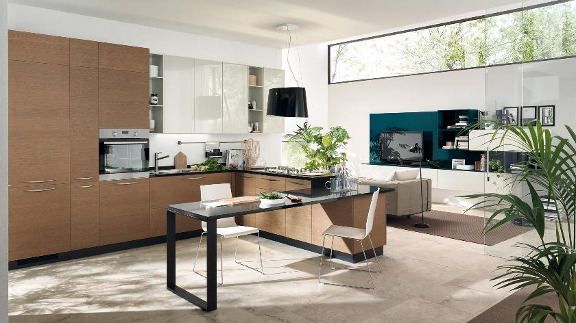 Contemporary kitchens for large and small spaces for Open kitchen living room designs