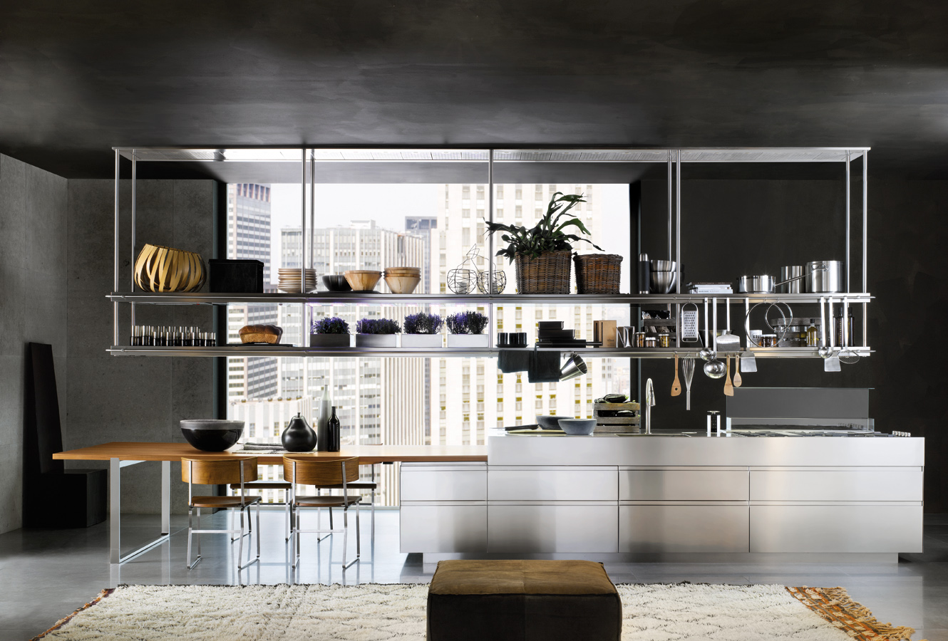 Organized Kitchen Space Stainless Steel Racks - Modern italian kitchen design from arclinea