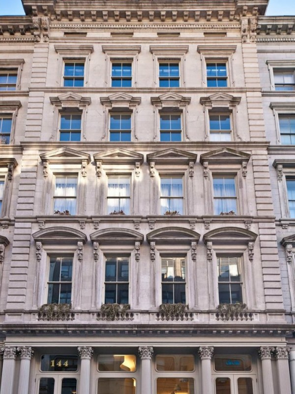 The limestone exterior is of classic New York architecture and style.