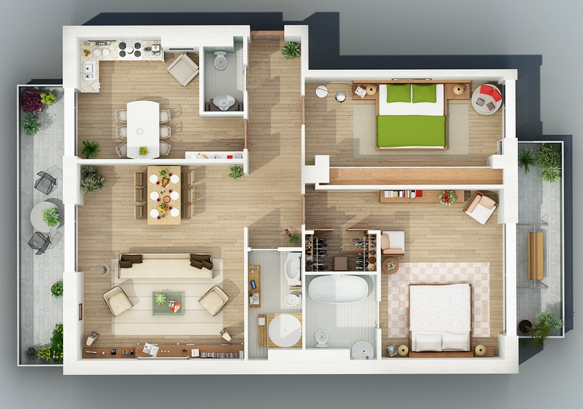 Apartment designs shown with rendered 3d floor plans for Planos de casas para construir gratis