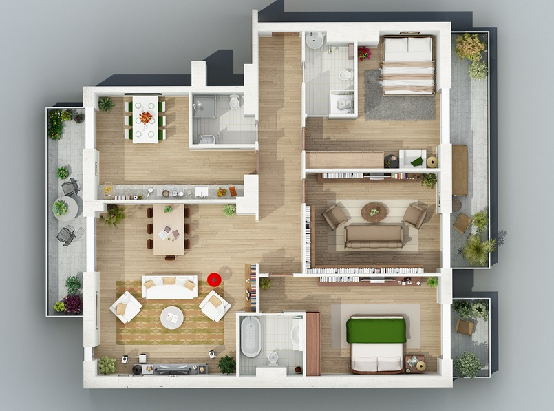 Apartment designs shown with rendered 3d floor plans for One big room apartment