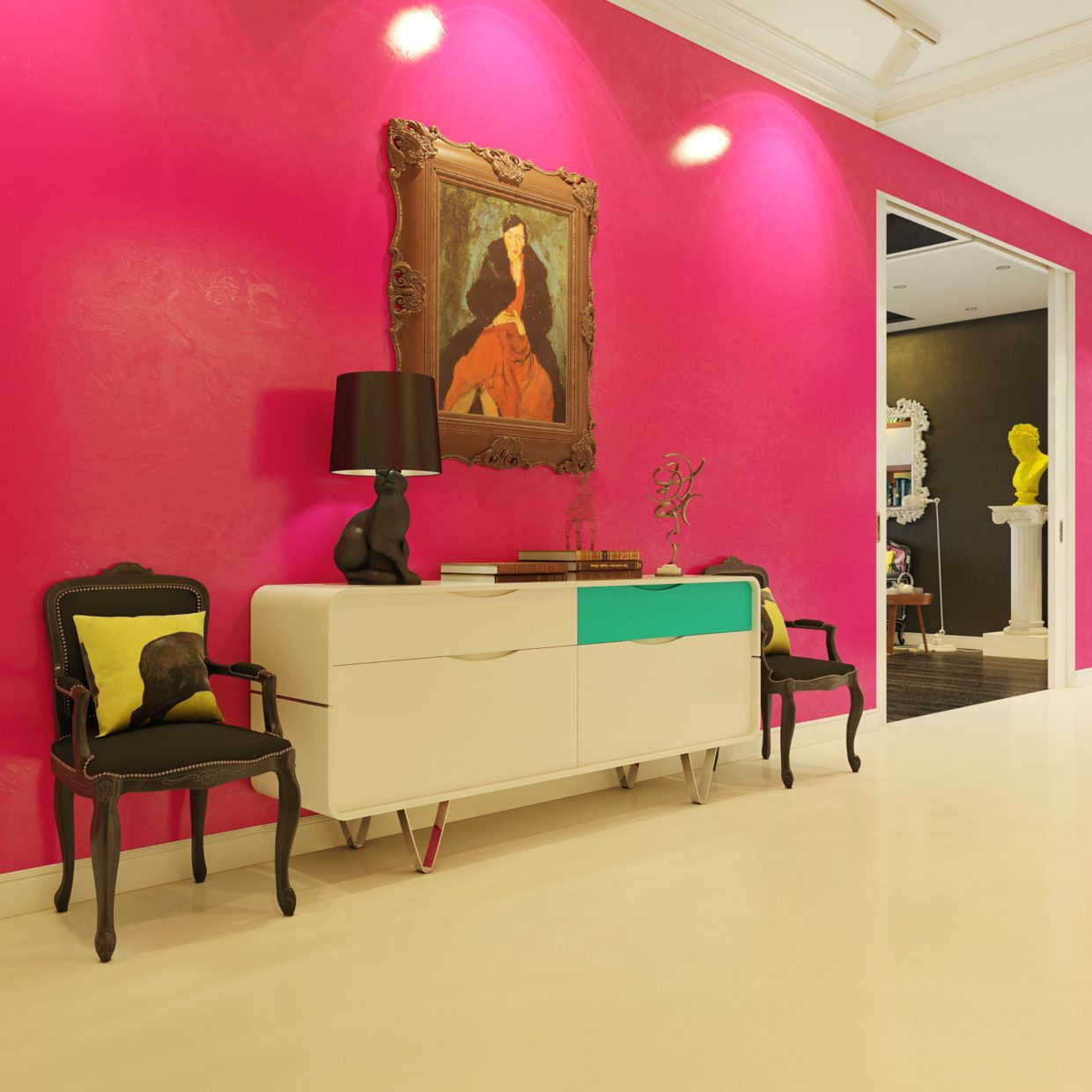 Pink foyer interior design ideas for Home painting design ideas