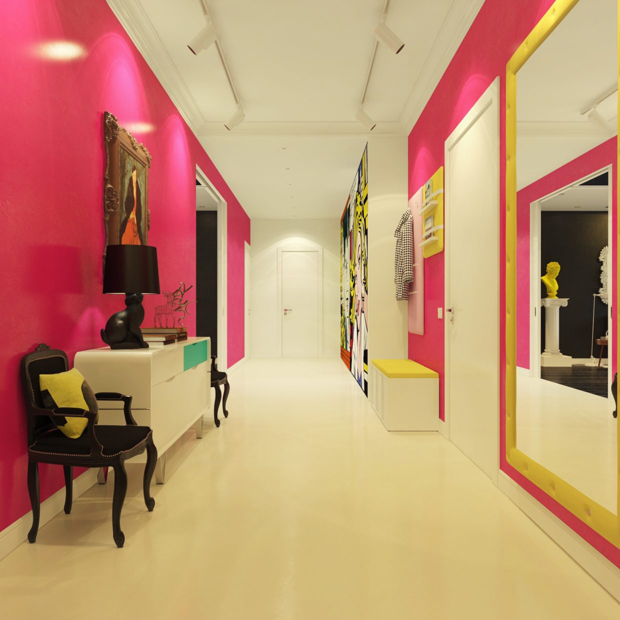 Pink hallway interior design ideas for Contemporary design style