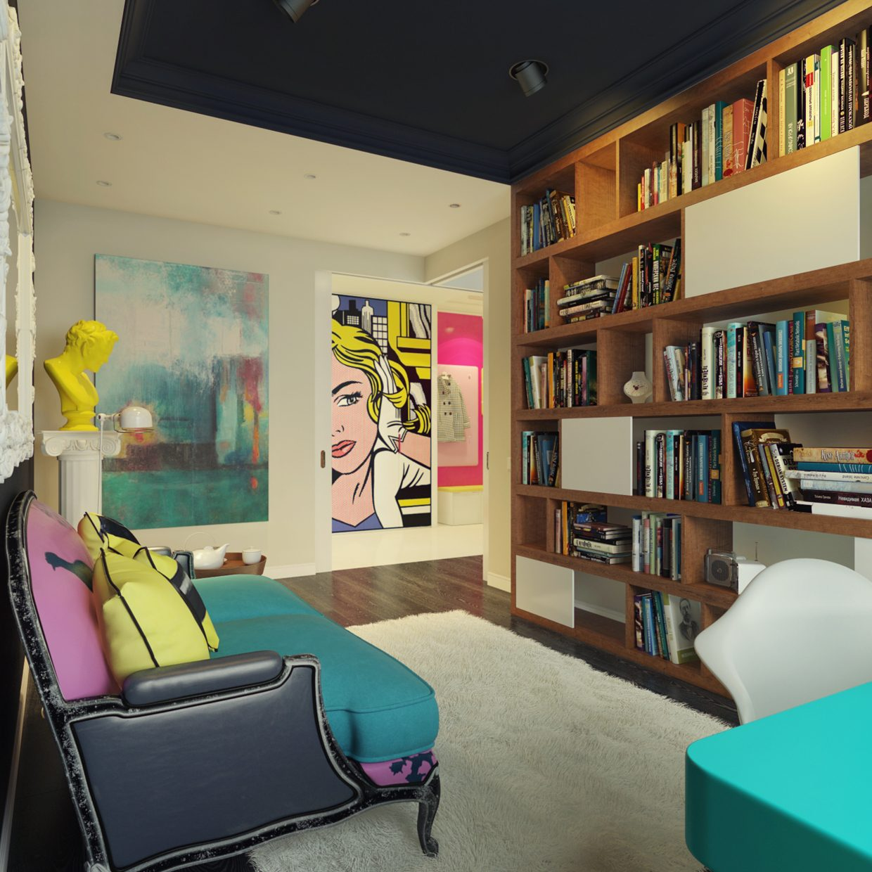 Pop art and shelving interior design ideas for 60s office design