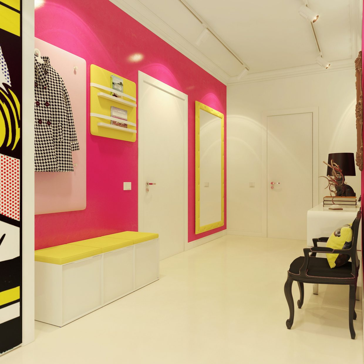 Modern pop art style apartment for Pop interior design for hall