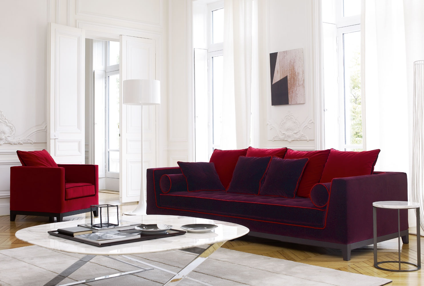 purple red sofa and chair interior design ideas