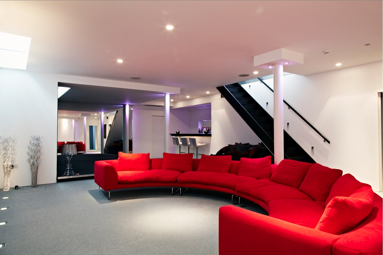 Cinema Room Red Couch Interior Design Ideas