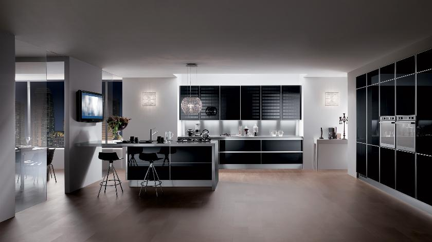 Sleek black contemporary kitchen interior design ideas for Sleek kitchen designs