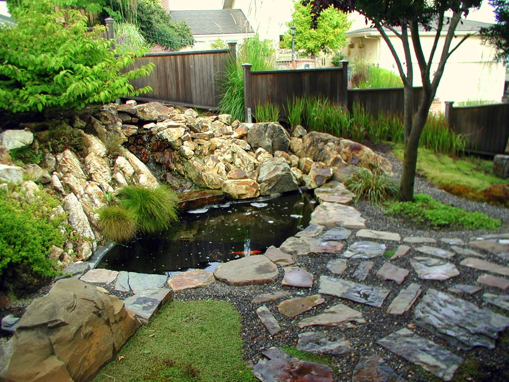 Japanese zen gardens for Patio koi pond