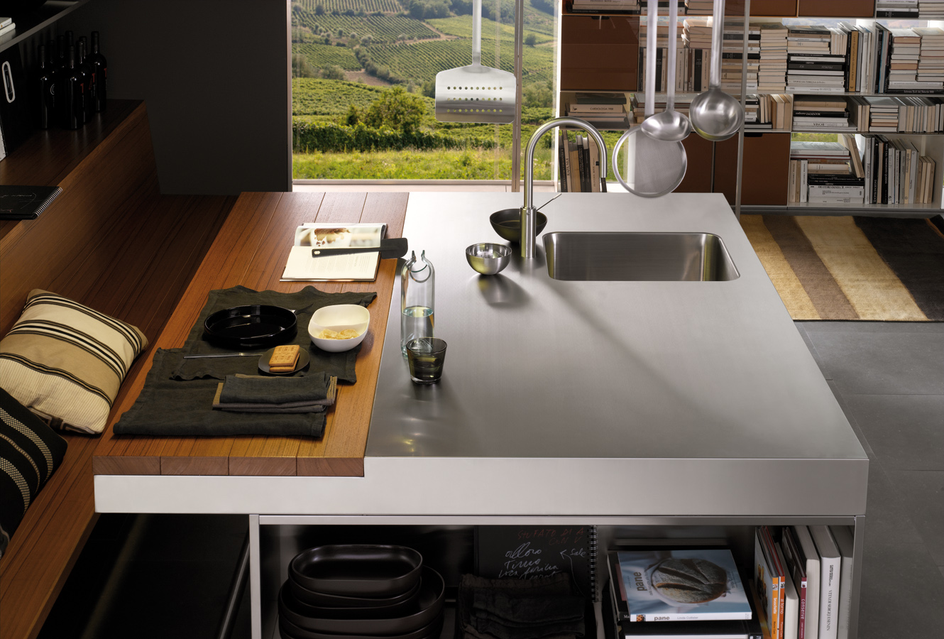 Split Table Dining And Preperation - Modern italian kitchen design from arclinea