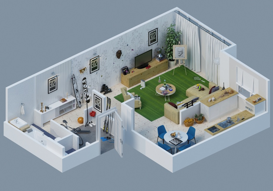 Apartment designs shown with rendered 3d floor plans for Apartment design map