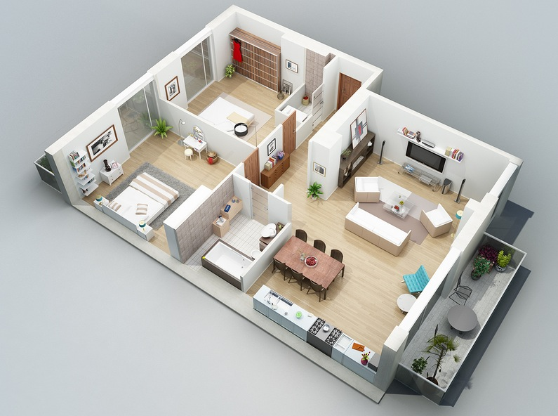 Apartment designs shown with rendered 3d floor plans for 2 bathroom apartment