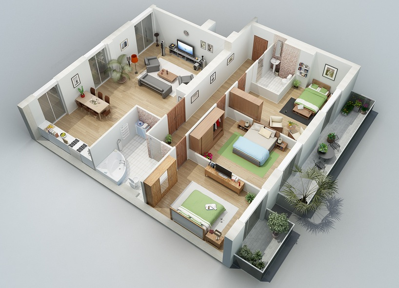 Apartment designs shown with rendered 3d floor plans for 2 bedroom house plans 3d