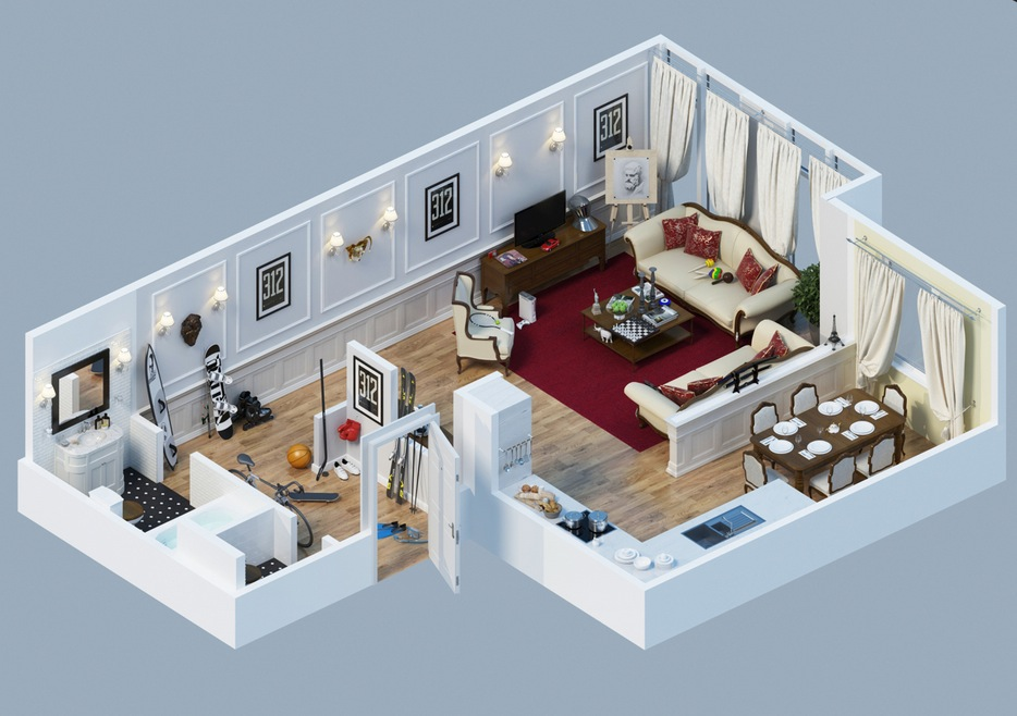 Apartment designs shown with rendered 3d floor plans for Apartments layout
