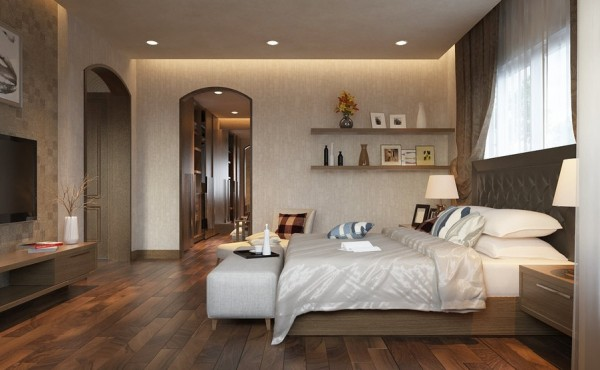 This warm bedroom design continues the theme of texture and artistic appeal.